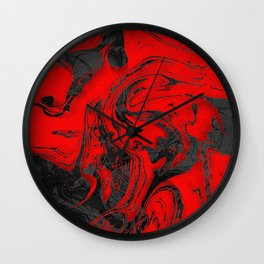 Black & Red Marble I Wall Clock