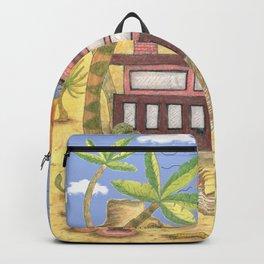 desert modernism, blue beige yellow green Backpack