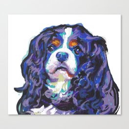 Tri-color Cavalier King Charles Spaniel Dog bright colorful Pop Art by LEA Canvas Print
