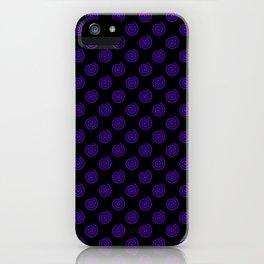 Indigo Violet on Black Spirals iPhone Case
