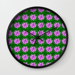 Cute pink blooming lilies and green leaves decorative floral feminine pretty pattern design. Wall Clock