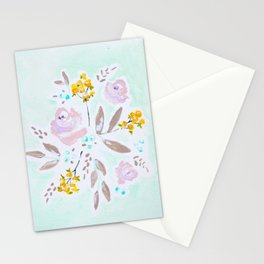 Mint and lavender watercolor floral Stationery Cards