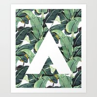 banana leaf Art Prints featuring Banana Leaf Love by Emily Wagner Studio