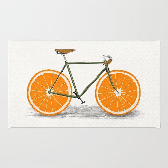 Zest Orange Wheels Rug By Florent Bodart Speakerine