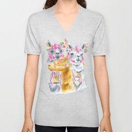 Happy alpacas watercolor Unisex V-Neck