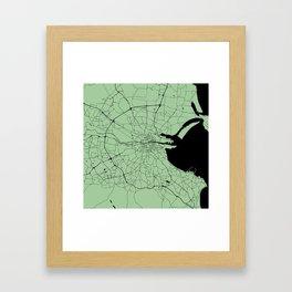 Dublin Ireland Green on Black Street Map Framed Art Print