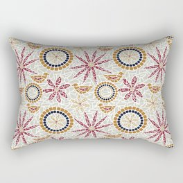 Birds and Flowers Mosaic - Grey, Rust and Red Rectangular Pillow