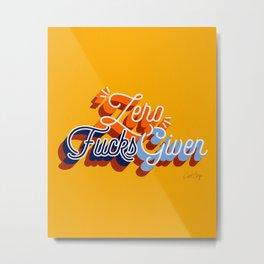 Zero F*cks Given – Yellow & Blue Palette Metal Print