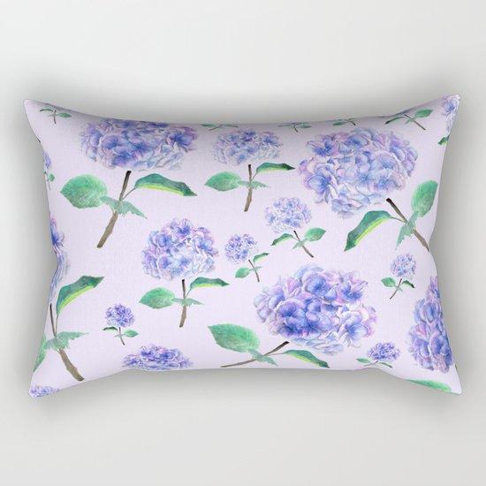 purple blue hydrangea in purple background Rectangular Pillow