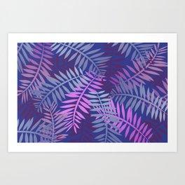 Violet pink palm leaves pattern Design #leaves Art Print