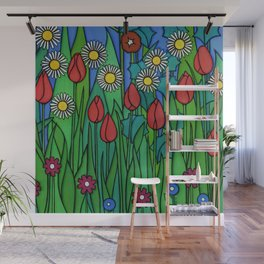 Tulips and Daisies Wall Mural