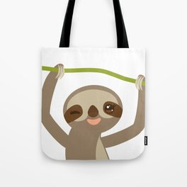 funny and cute smiling Three-toed sloth on green branch 2 Tote Bag