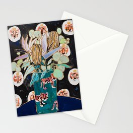Dark Floral Still Life with Banksia Pods and Tigers Stationery Cards