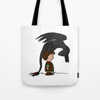 hiccup Tote Bags featuring He's Your Dragon, Hiccup by mikaelak