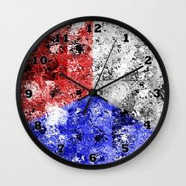 Glass Tiles Tricolor RWB Wall Clock