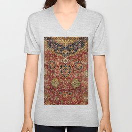 Indian Boho II // 16th Century Distressed Red Green Blue Flowery Colorful Ornate Rug Pattern Unisex V-Neck