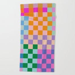 Checkerboard Collage Beach Towel