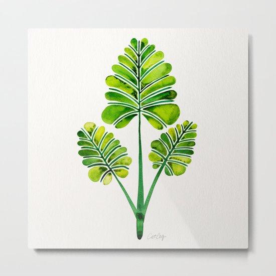 Tropical Palm Leaf Trifecta – Green Palette Metal Print