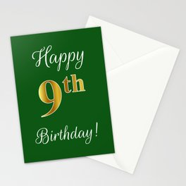 """Elegant """"Happy 9th Birthday!"""" With Faux/Imitation Gold-Inspired Color Pattern Number (on Green) Stationery Cards"""
