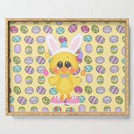 Easter Chick with Bunny Ears Serving Tray