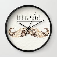 moustache Wall Clocks featuring moustache by Manoou