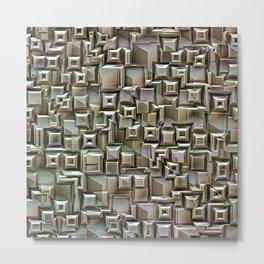 Textural 3D Metallic Structure Metal Print