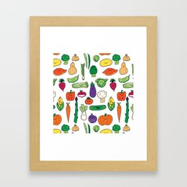 Cute Smiling Happy Veggies on white background Framed Art Print