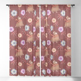 Baby llamas, sweet vintage retro lollipops candy. Cute Christmas nursery pattern. Sheer Curtain