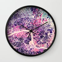 london map Wall Clocks featuring London Mosaic Map #2 by Map Map Maps