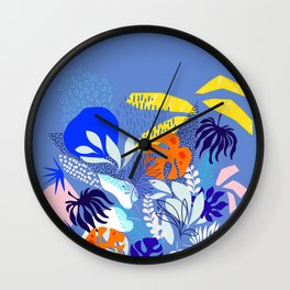 Keep Growing - Tropical plant on Blue Wall Clock