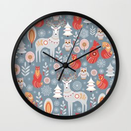 Fairy forest, deer, owls, foxes. Decorative pattern in Scandinavian style. Folk art. Wall Clock