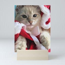 Christmas kitten Mini Art Print