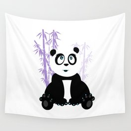 Panda Girl - Purple Wall Tapestry