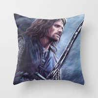 aragorn Throw Pillows featuring Aragorn by Svenja Gosen
