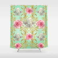 angels Shower Curtains featuring Angels by Victoria Obscure