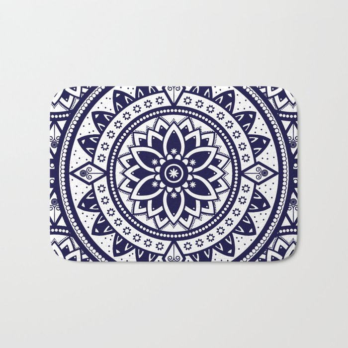 Blue & White Patterned Flower Mandala Design Bath Mat