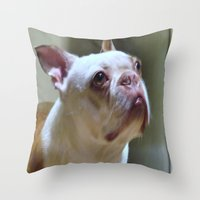 boston Throw Pillows featuring Boston  by Sarahpea