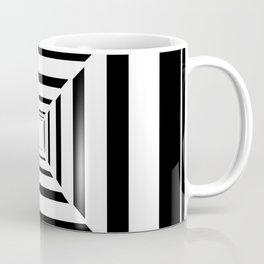 Abstract Black and White Geometric Square Pattern Coffee Mug