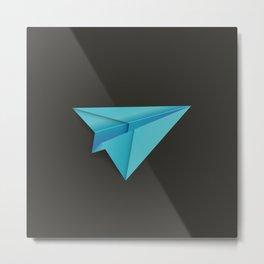 Blue Paper Plane Metal Print