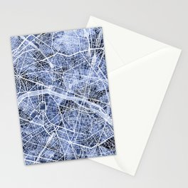 Paris France City Map Stationery Cards