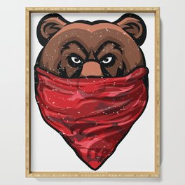 Bear, Gangster Bear wearing a Red Bandanna Pullover Serving Tray
