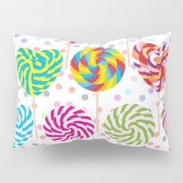 lollipops pattern, colorful spiral candy cane with twisted design Pillow Sham