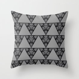 Abstract Damask Floral Triangle Gray and Black Geometric Shape Pattern Throw Pillow