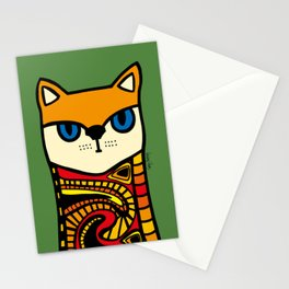 Nine Lives of a Cat in Green Stationery Cards