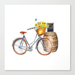 Sunflower Bicycle Canvas Print