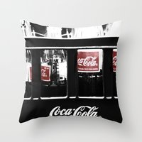 coca cola Throw Pillows featuring coca cola by Crimson Crazed