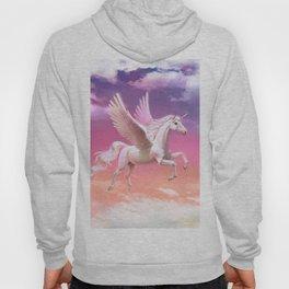 Flying unicorn at sunset Hoody