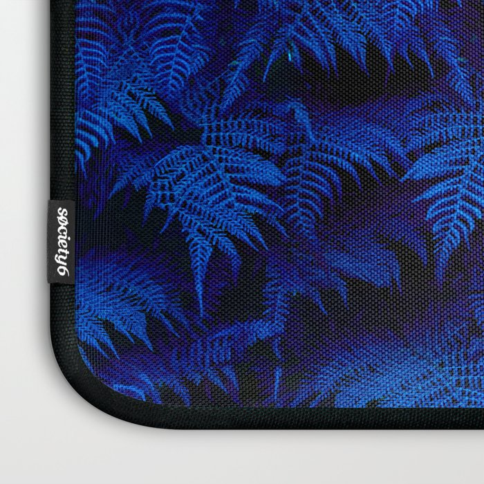 Deep Blue Fern Plant Wall Laptop Sleeve