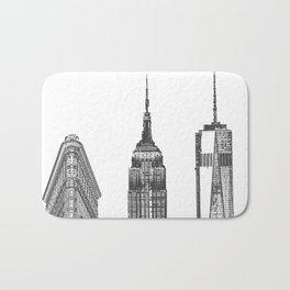 New York City Iconic Buildings-Empire State, Flatiron, One World Trade Bath Mat