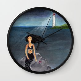 Mermaid By Lighthouse Wall Clock